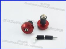 Motorcycle bar ends flat round red alloy 22mm bars